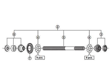 Shimano 3SW 9801 FH-M595 Complete Rear Axle :: £12 90